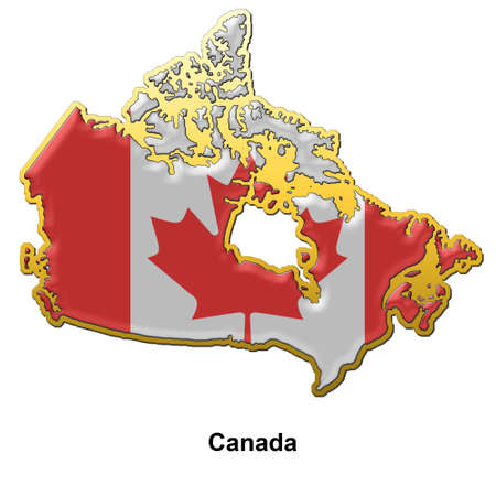 map shaped flag of Canada in the style of a metal pin badge