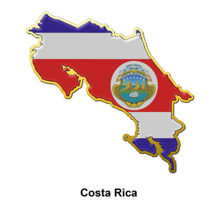 map shaped flag of Costa Rica in the style of a metal pin badge