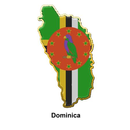dominica: map shaped flag of Dominica in the style of a metal pin badge
