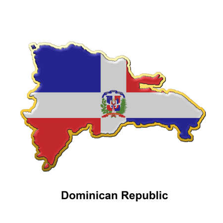 map shaped flag of Dominican Republic in the style of a metal pin badge photo