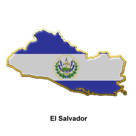 map shaped flag of El Salvador in the style of a metal pin badge Stock Photo