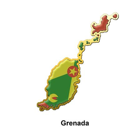 grenada: map shaped flag of Grenada in the style of a metal pin badge