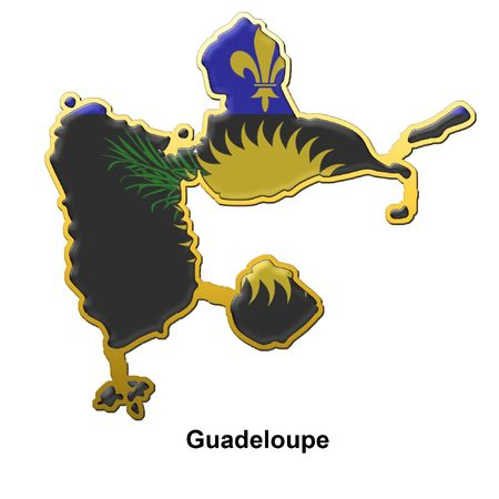 map shaped flag of Guadeloupe in the style of a metal pin badge