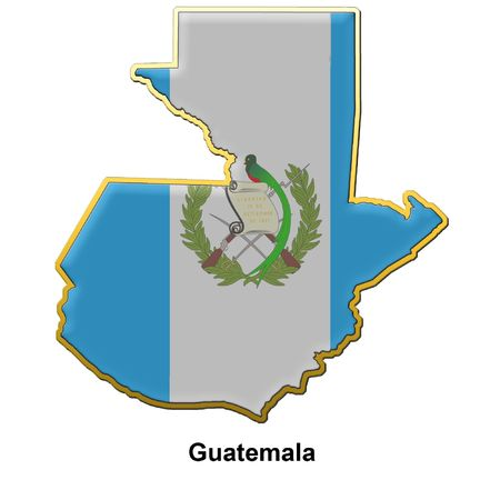 map shaped flag of Guatemala in the style of a metal pin badge