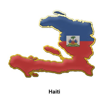 map shaped flag of Haiti in the style of a metal pin badge