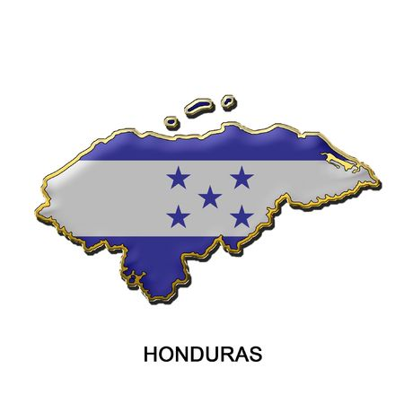 map shaped flag of Honduras in the style of a metal pin badge photo