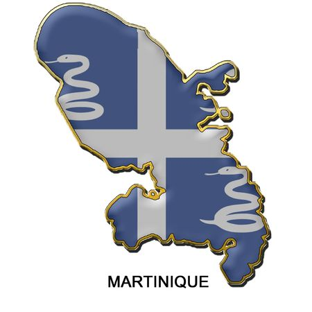 martinique: map shaped flag of Martinique in the style of a metal pin badge