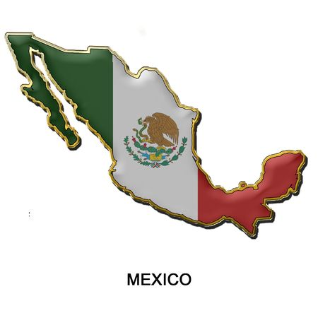 map shaped flag of Mexico in the style of a metal pin badge