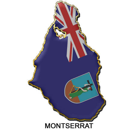 montserrat: map shaped flag of Montserrat in the style of a metal pin badge Stock Photo
