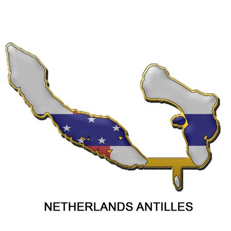 antilles: map shaped flag of Netherland Antilles in the style of a metal pin badge