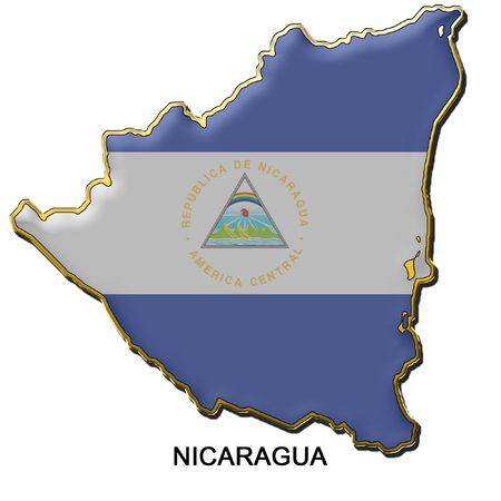 map shaped flag of Nicaragua in the style of a metal pin badge photo