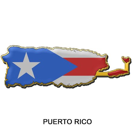 map shaped flag of Puerto Rico in the style of a metal pin badge photo