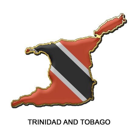 trinidad and tobago: map shaped flag of Trinidad and Tobago in the style of a metal pin badge