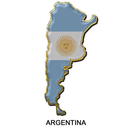 map shaped flag of Argentina in the style of a metal pin badge Stock Photo