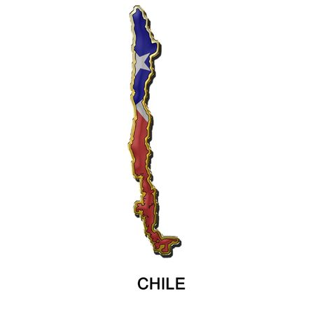 map shaped flag of Chile in the style of a metal pin badge photo