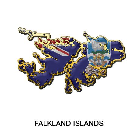 falkland: map shaped flag of Falkland Islands in the style of a metal pin badge