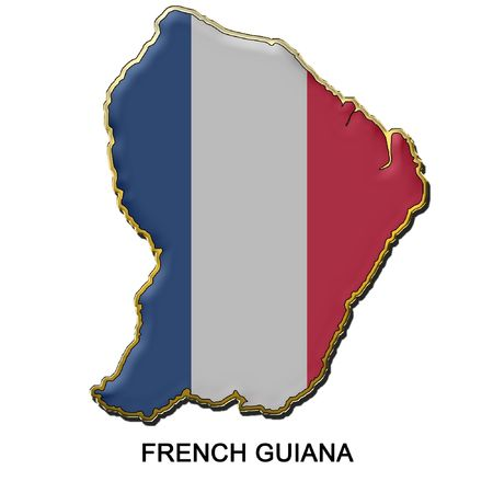 map shaped flag of French Guiana in the style of a metal pin badge photo