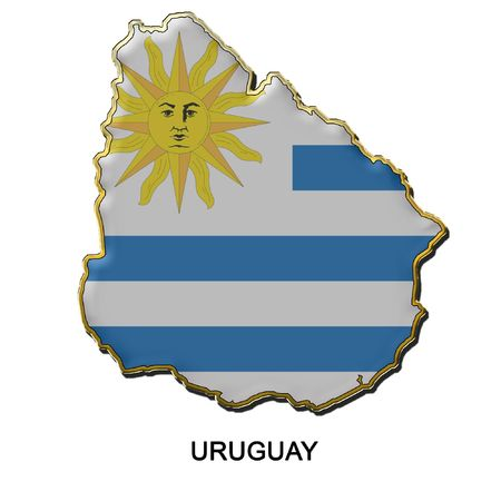 map shaped flag of Uruguay in the style of a metal pin badge
