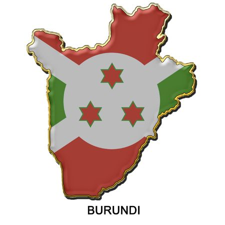 map shaped flag of Burundi in the style of a metal pin badge photo