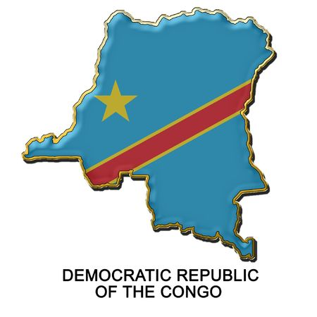 democratic: map shaped flag of Democratic Republic of the Congo in the style of a metal pin badge