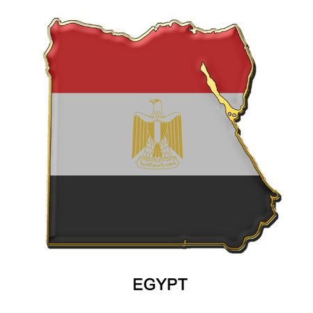 map shaped flag of Egypt in the style of a metal pin badge photo