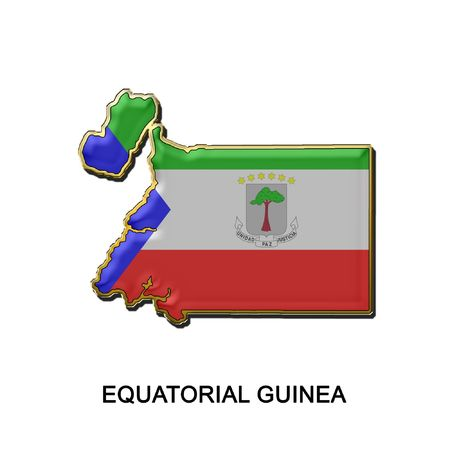 map shaped flag of Equatorial Guinea in the style of a metal pin badge photo