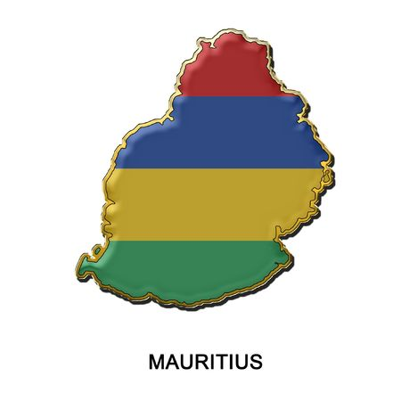 mauritius: map shaped flag of Mauritius in the style of a metal pin badge Stock Photo