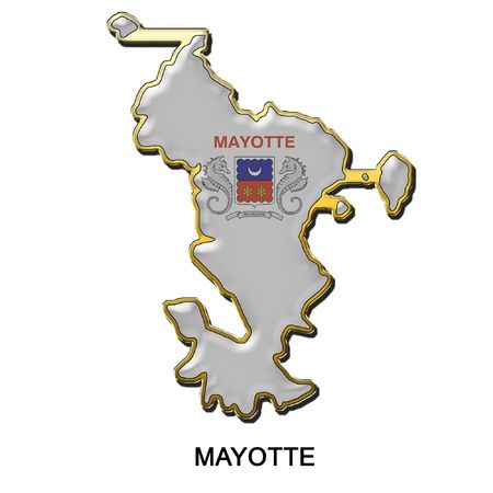 mayotte: map shaped flag of Mayotte in the style of a metal pin badge