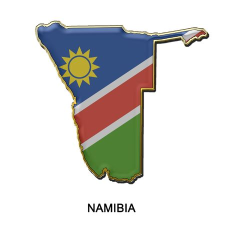 map shaped flag of Namibia in the style of a metal pin badge photo