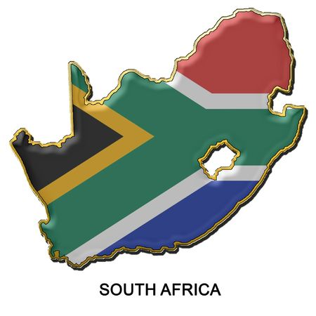 map shaped flag of South Africa in the style of a metal pin badge photo
