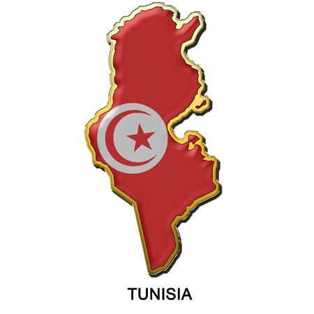 map shaped flag of Tunisia in the style of a metal pin badge photo