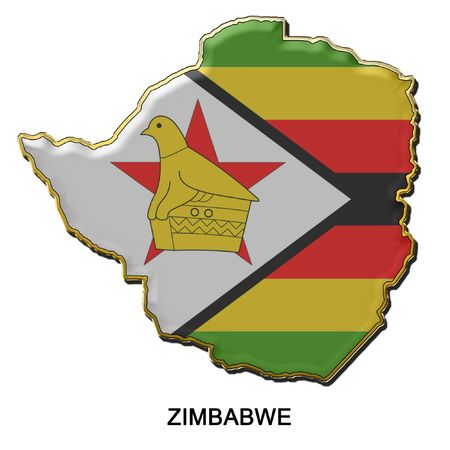 map shaped flag of Zimbabwe in the style of a metal pin badge photo