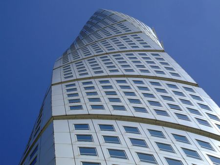 twisty: an upward view of the turning torso twisted tower block in malmo Stock Photo