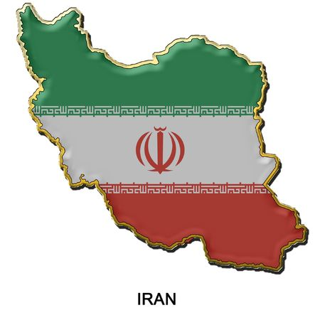 map shaped flag of Iran in the style of a metal pin badge photo