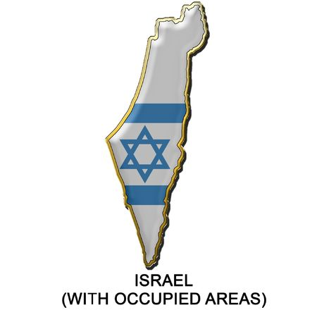 map pin: map shaped flag of Israel in the style of a metal pin badge Stock Photo