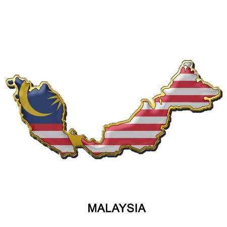 map shaped flag of Malaysia in the style of a metal pin badge photo