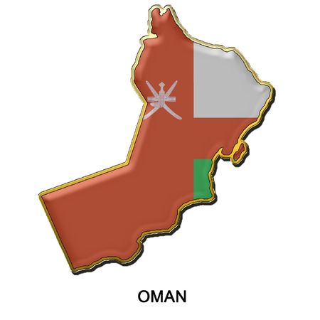 Oman: map shaped flag of Oman in the style of a metal pin badge Stock Photo