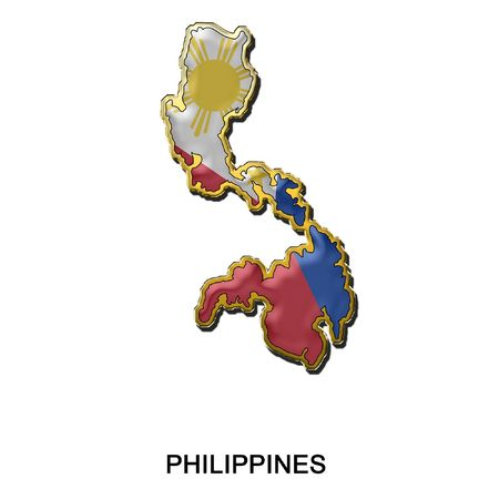 flag pin: map shaped flag of Philippines in the style of a metal pin badge
