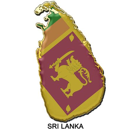 sri lanka: map shaped flag of Sri Lanka in the style of a metal pin badge