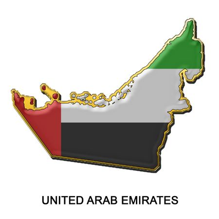 map shaped flag of United Arab Emirates in the style of a metal pin badge