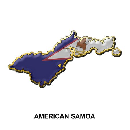 samoa: map shaped flag of American Samoa in the style of a metal pin badge