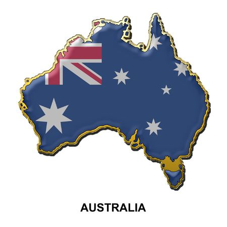 aussie: map shaped flag of Australia in the style of a metal pin badge