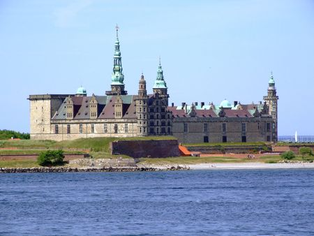 Danish harbour of Helsingor with Kronborg castle in the background. Stock Photo