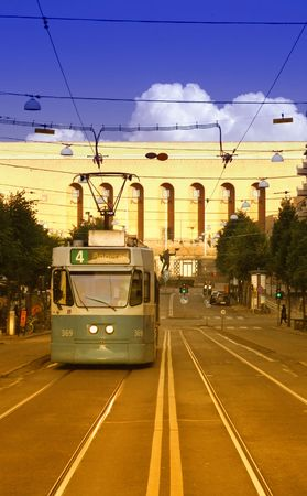 architectural tradition: A typical tram car in the swedish city of Gothenburg