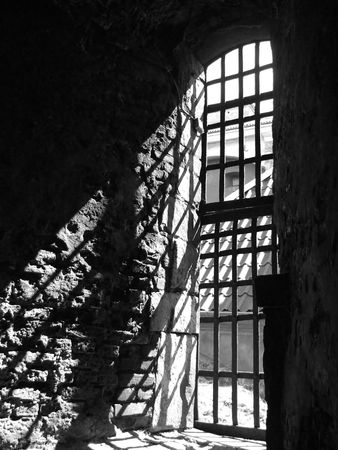 castle interior: a view of a dungeon window from the dungeon interior of the Elfsborg fortress at Gothenburg in Sweden