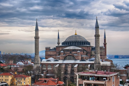 byzantium: An image of the impressive hagia sophia mosque situated in the turkish city of istanbul.