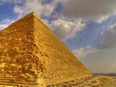 pharoah: A digital painting of one of the great pyramids of giza with a smog covered cairo in the background