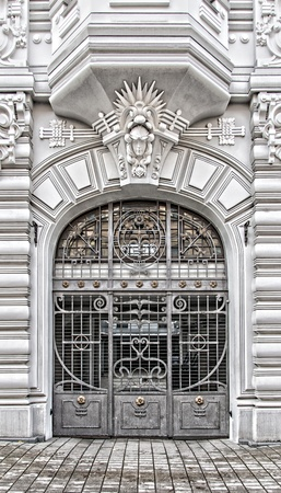 A grand Entrance to a grand building in the art nouveau district of Riga in Latvia.