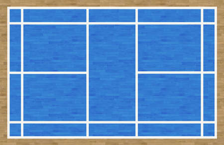 overhead: An overhead view of a badminton court complete with markings.