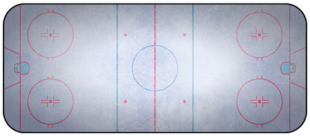 hockey goal: An overhead view of an ice hockey rink complete with markings.
